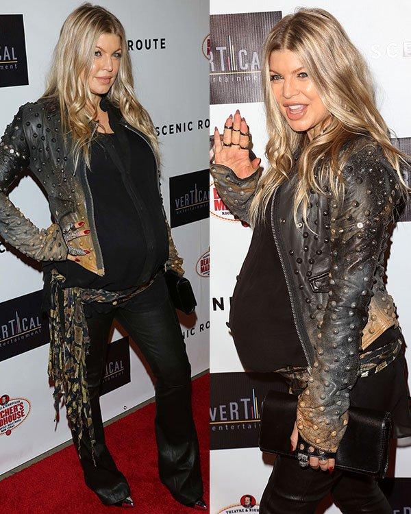 Fergie rocks a Toxic Vision studded biker jacket