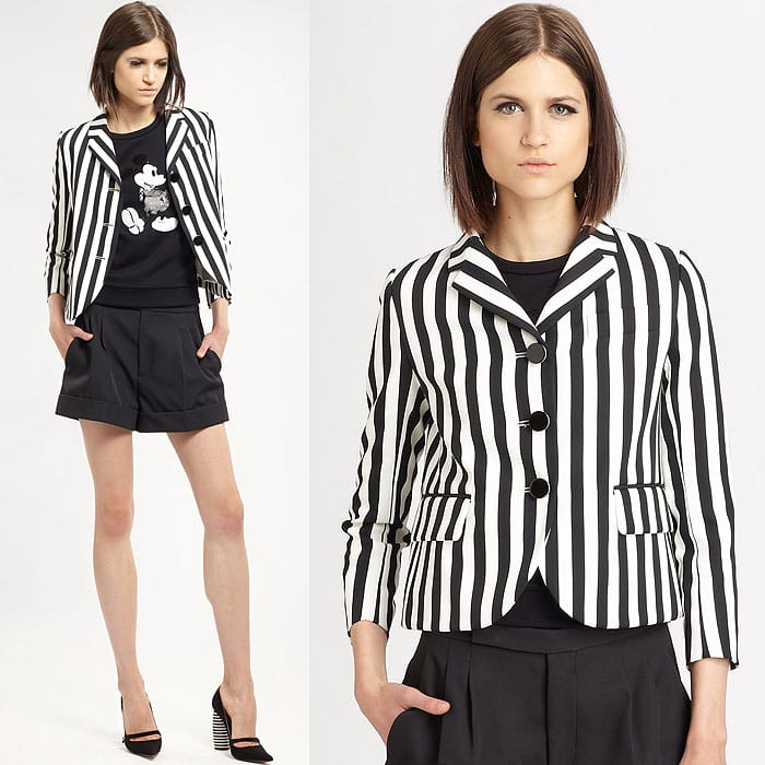 Marc Jacobs Striped Three-Button Jacket