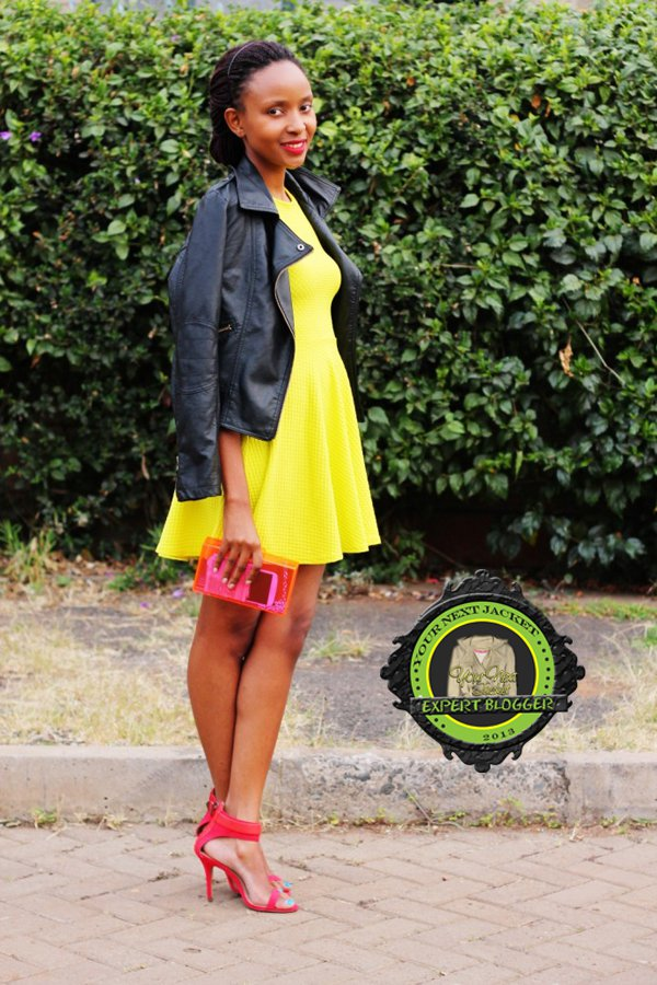 Nancie shows a girly way to wear a black leather jacket