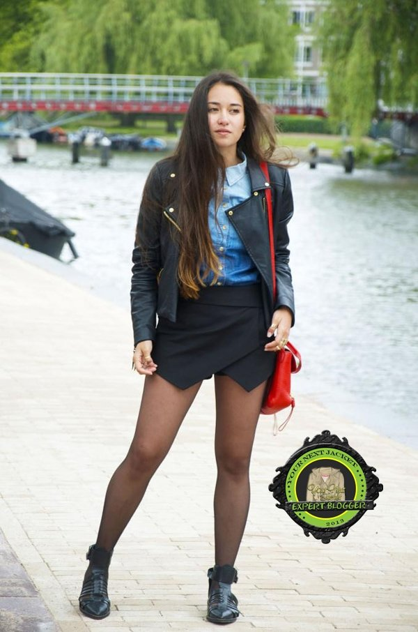 If you are a fan of the origami skirt, why don't you try matching it with your leather outerwear?