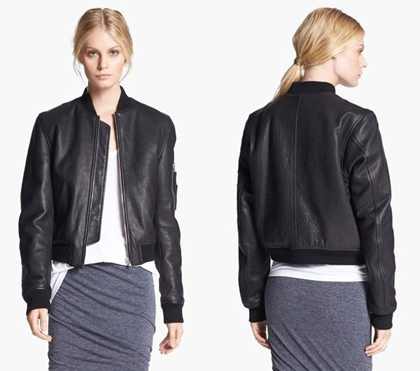 T by Alexander Wang Reversible Leather & Nylon Bomber Jacket