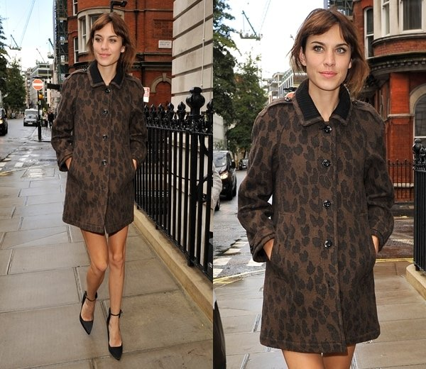 Alexa Chung spotted out and about during London Fashion Week in London, England, on September 16, 2013