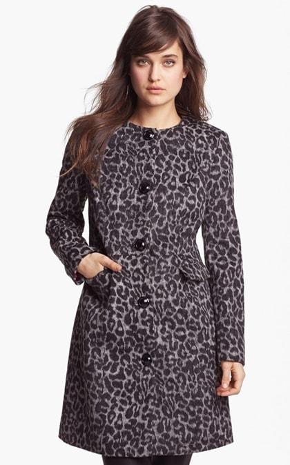 Betsey Johnson Collarless Animal Print Coat