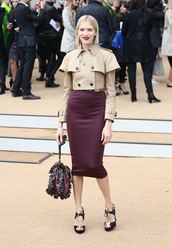 Elena Perminova at Burberry Prorsum s/s 2014 during London Fashion Week SS14 in London, United Kingdom, on September 16, 2013
