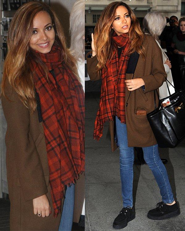Jade Thirwall wearing a two-tone coat by Zara
