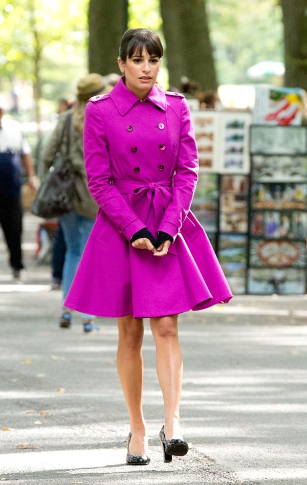 Lea Michele flaunts her sexy legs in an eye-popping pink coat dress