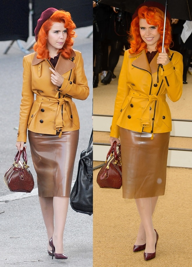 Paloma Faith stood out in her golden trench coat paired with a tan rubber skirt