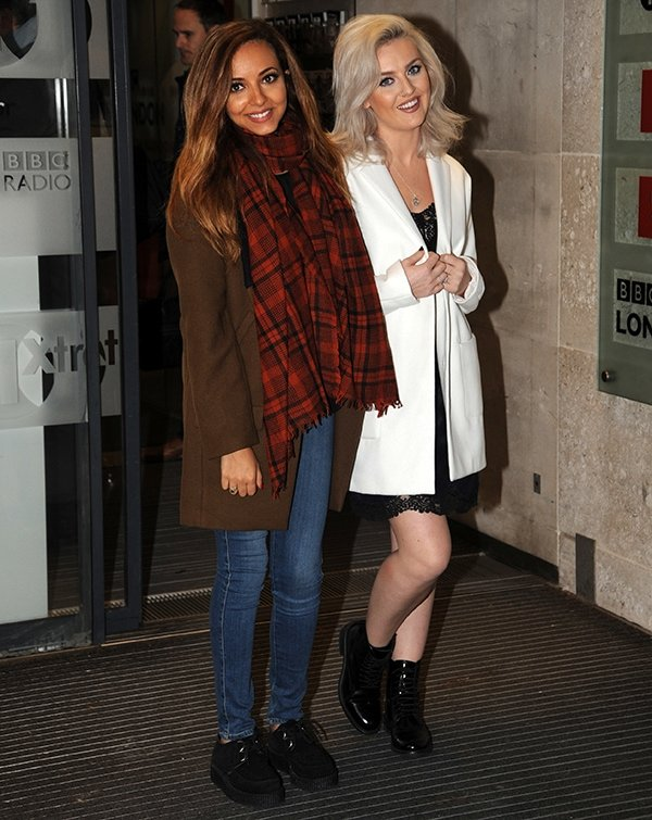 "Little Mix's Jade Thirlwall and Perrie Edwards were spotted outside BBC Radio 1 studios in London on September 23 to debut their new single, ""Move,"" at Nick Grimshaw's show"