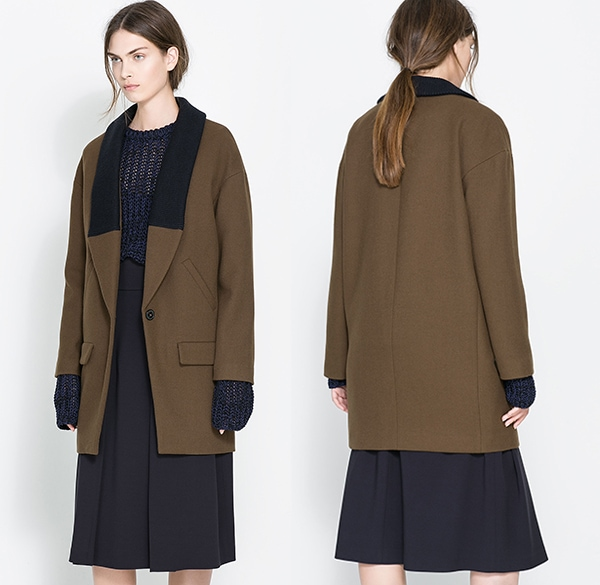 Zara Coat with Knitted Lapel