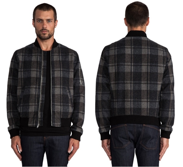 AG Adriano Goldschmied Bomber Jacket in Charcoal Brown Plaid