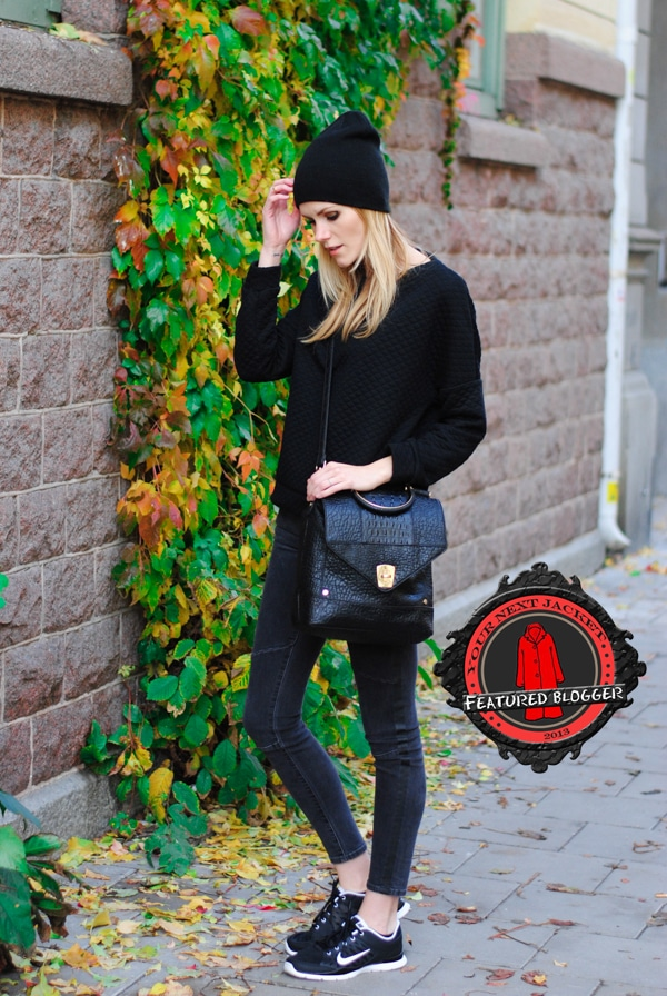 Blair rocked a black beanie with jeans, sneakers, and a chunky sweater