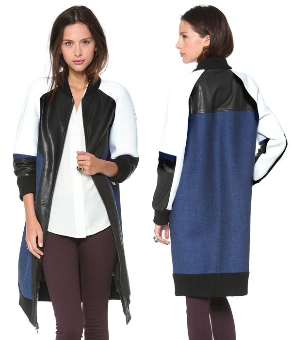 DKNY Colorblock Mixed Media Varsity Coat