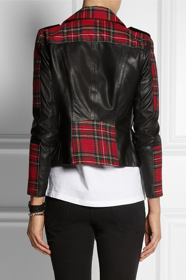 Karl Lagerfeld Vicious tartan biker jacket
