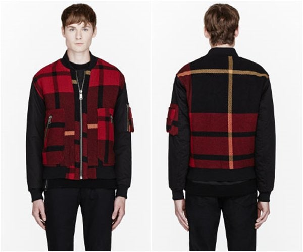 MCQ Alexander McQueen Red & Black Plaid Bomber