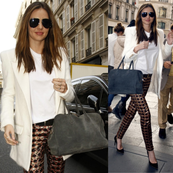 Miranda Kerr in head-to-toe Balmain after visiting the label's headquarters in France on October 3, 2013