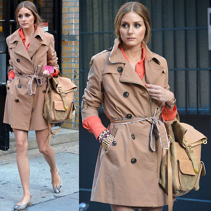 Olivia Palermo wears Pretty Ballerinas Montreal snake flats outside a cafe in Tribeca