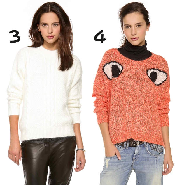 Lover Sid Cable Sweater and Elizabeth and James Googly Eyes Sweater