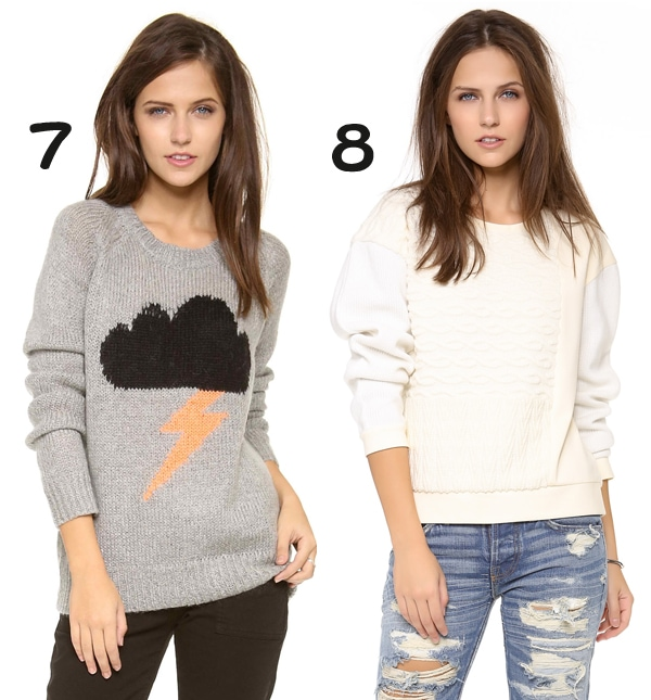 Elizabeth and James Raincloud Intarsia Sweater and Tibi Sculpted Top