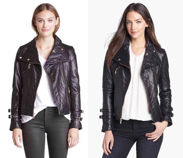 DKNY Asymmetrical Leather Moto Jacket