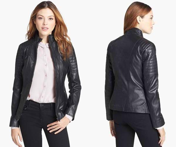 La Marque Padded Leather Biker Jacket