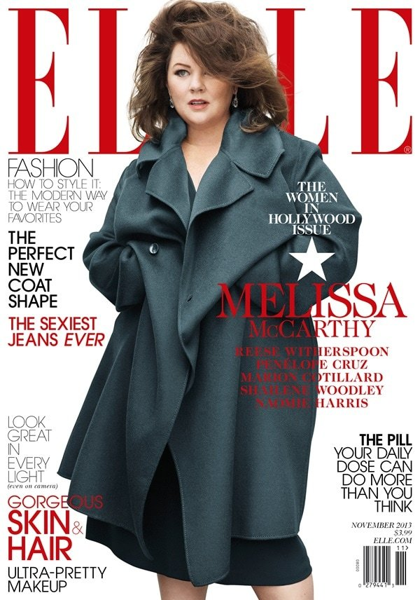 Elle has come under fire for the way it has covered up Melissa McCarthy's curves on its November cover