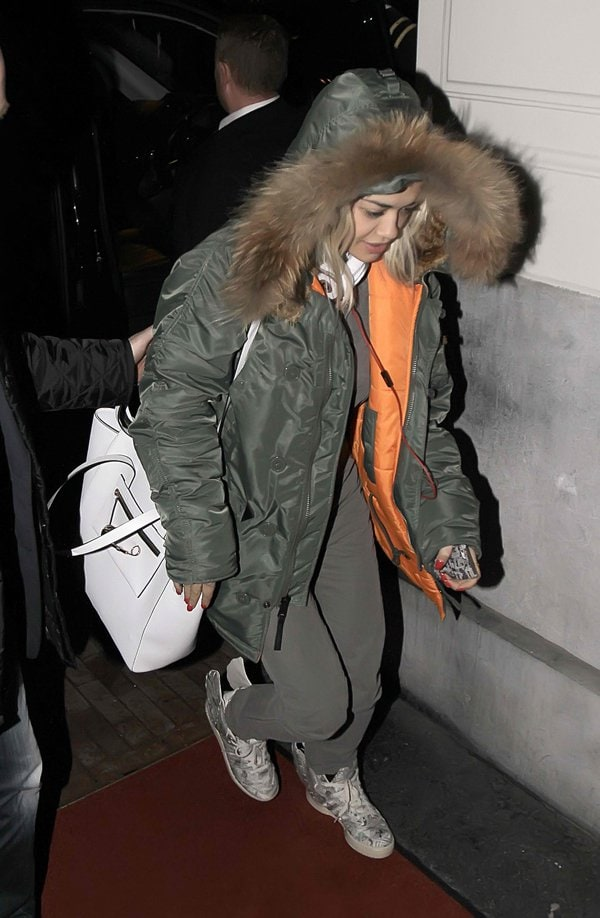 Rita Ora arrives at her Amsterdam hotel ahead of the 2013 MTV EMAs in Amsterdam, Netherlands on November 9, 2013
