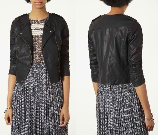 Topshop Mirabelle Faux Leather Biker Jacket
