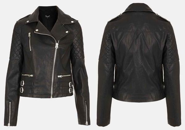 Topshop Wylde Faux Leather Biker Jacket
