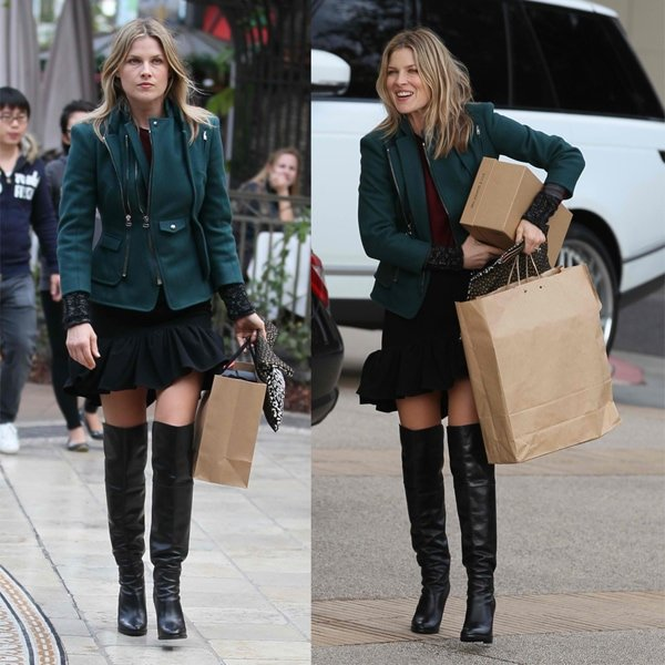 Ali Larter wears a jacket with a double-high collar and asymmetrical front