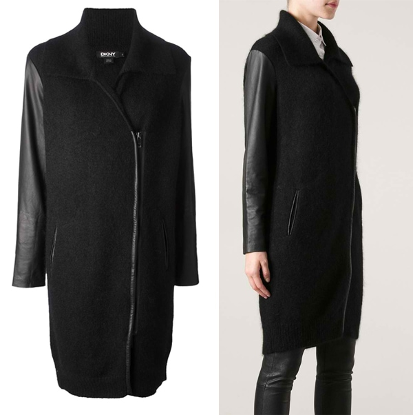 DKNY Leather Sleeve Coat