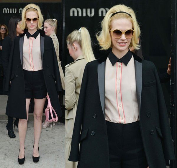 January Jones at the Miu Miu runway show during Paris Fashion Week Autumn/Winter 2013 in Paris on March 6, 2013