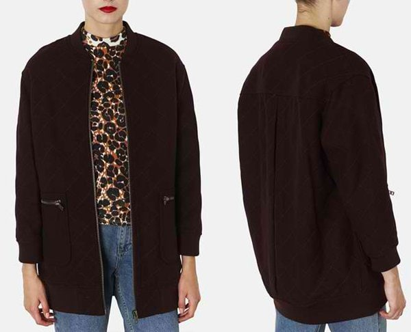 Topshop Quilted Long Bomber Jacket