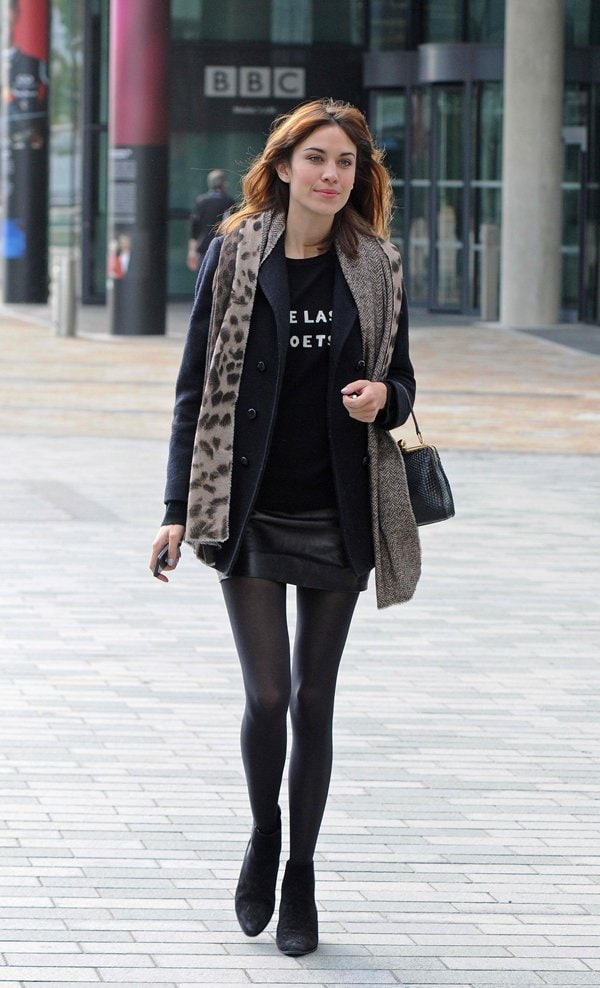 Alexa Chung leaving the BBC Breakfast studio after appearing on the show at MediaCityUK in Manchester, United Kingdom, on September 9, 2013