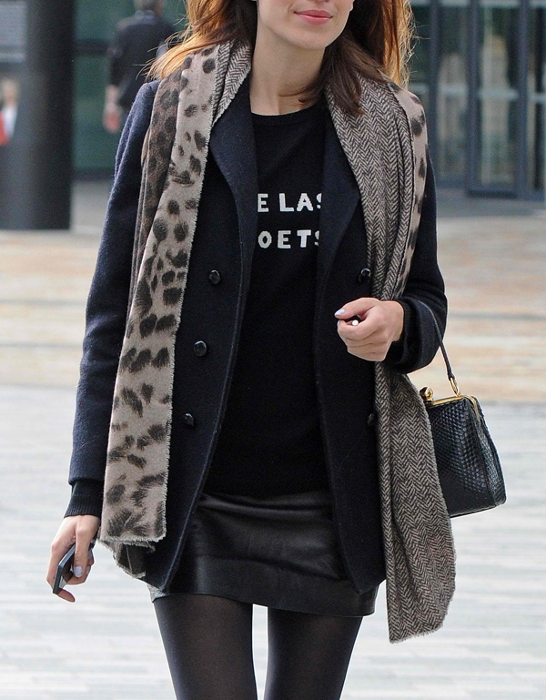 Wear your band or graphic-printed shirts with a coat and a vest like Alexa Chung