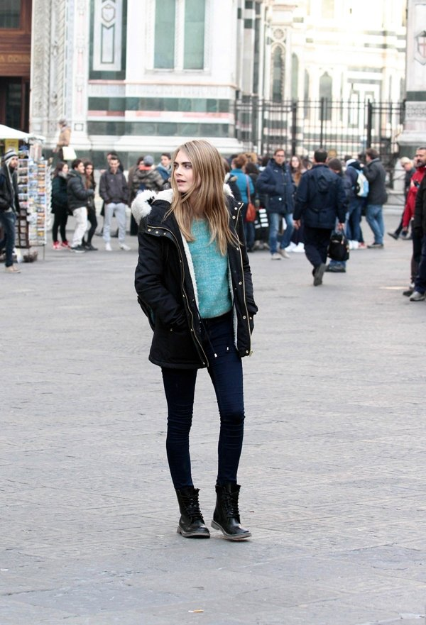 Cara Delevingne on the set of The Face of an Angel in downtown Florence in Italy on December 18, 2013