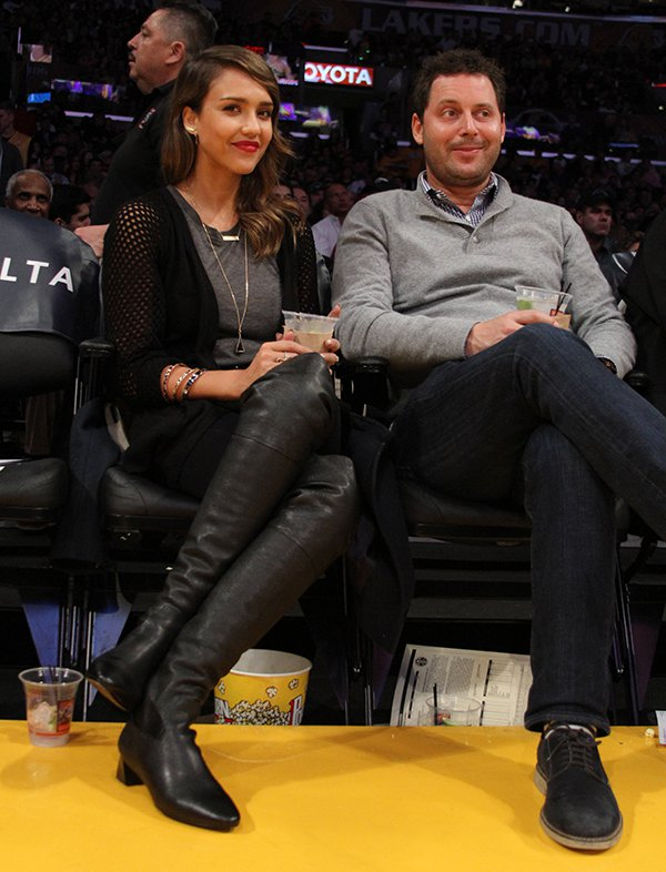 Jessica Alba and Michael Kives courtside at the Los Angeles Lakers vs. Denver Nuggets game held at the Staples Center in Los Angeles on January 5, 2014