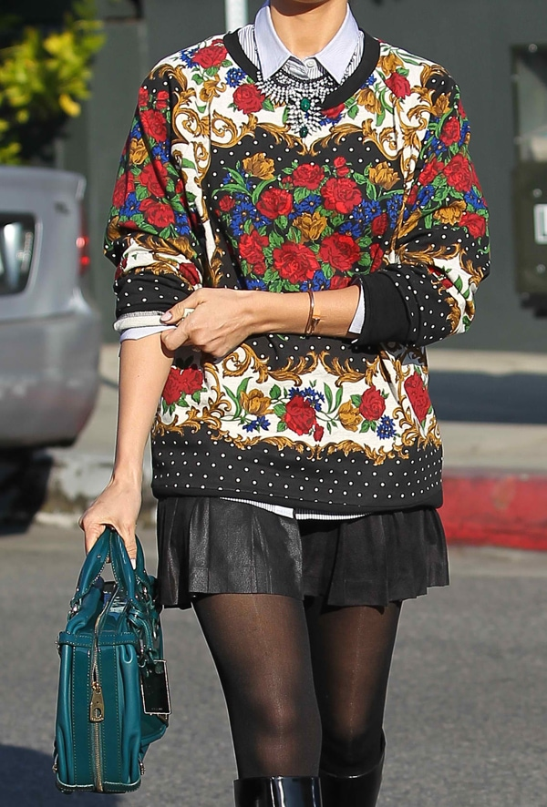 Get your printed sweater, and wear it with a collared long-sleeve shirt