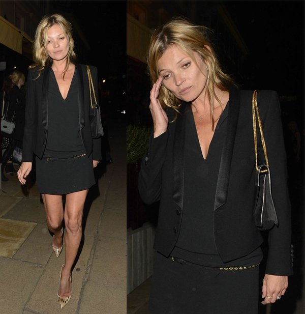 Kate Moss wears a blazer while leaving Loulou's in London