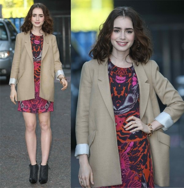 Lily Collins at the ITV Studios in London, England, on June 3, 2013
