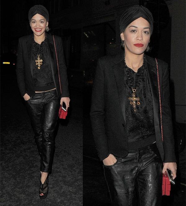 Rita Ora combined leather with lace