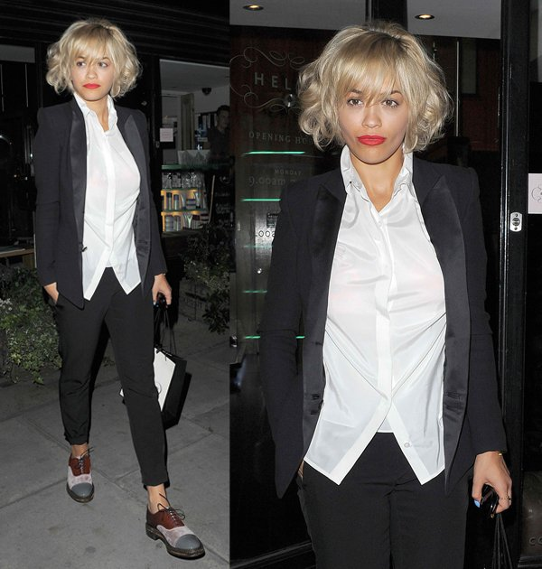 Rita Ora spending just under 4 hours in the hairdressers chair and looking totally different when she emerged with a new blond bob haircut in London, England, on August 8, 2013