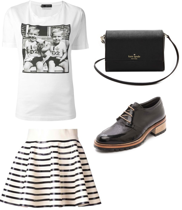 "DSQUARED2 Printed T-Shirt / Olympia Le-Tan ""Rosa"" Skirt / Kate Spade New York Magnolia Cross-Body Bag / Beau Coops Juniper Oxfords"