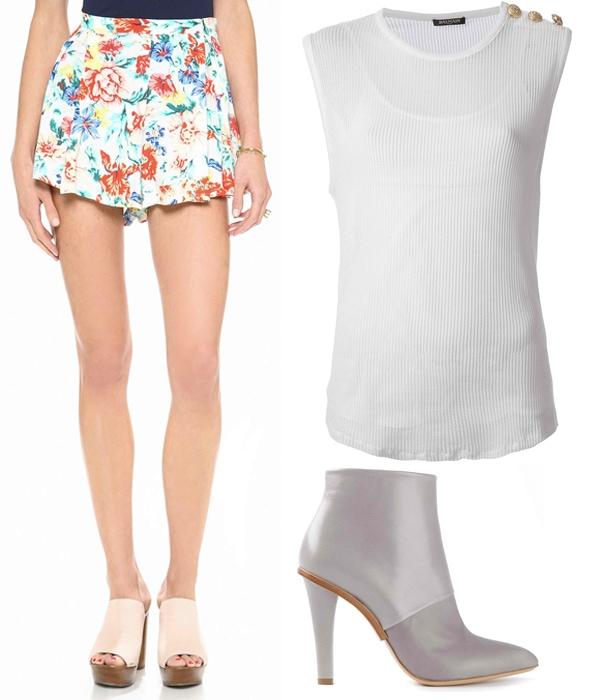 MINKPINK Flower Crush Box Pleat Shorts / Balmain Loose Knit Tank Top / Maison Martin Margiela Paneled Ankle Boots