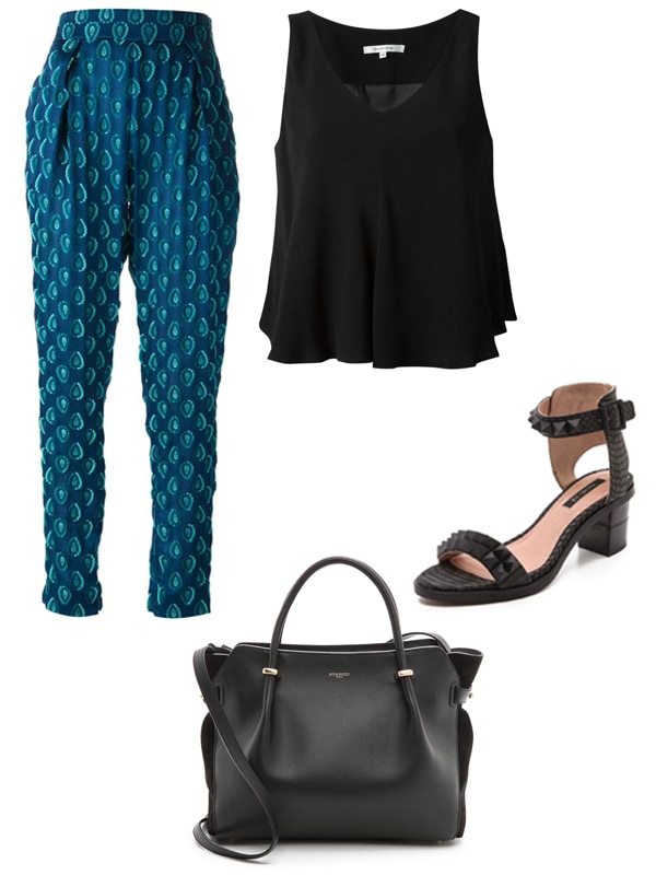 "Chloe High-Waisted Jacquard Trousers / Carven Sleeveless Blouse / Rachel Zoe ""Colbie"" Studded Sandals / Nina Ricci Leather Tote"