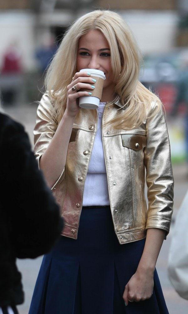 Pixie Lott'sa gold-tone leather jacket