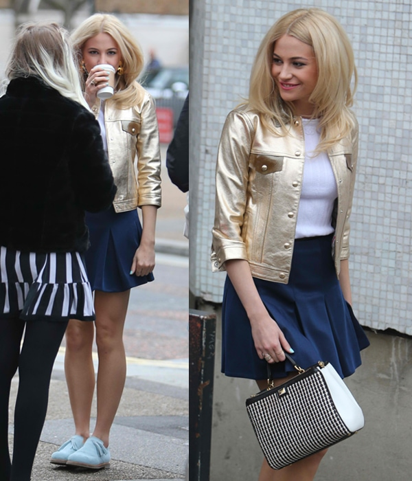 Pixie Lott went for a preppy school girl look with a knitted top