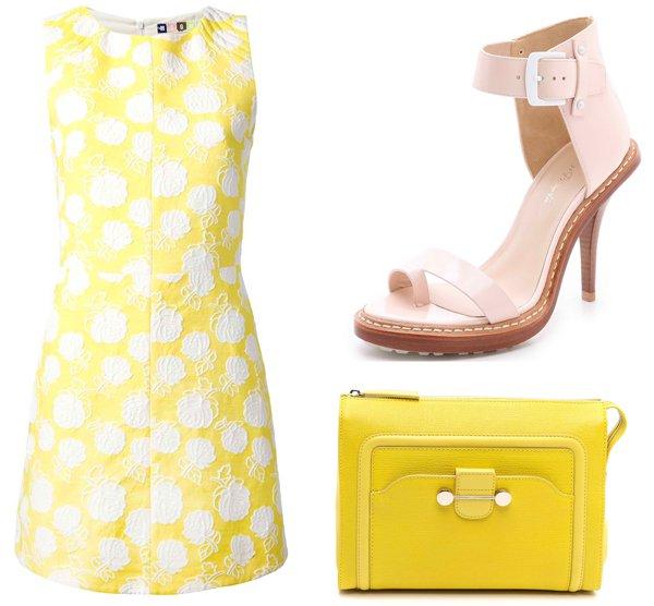 "MSGM Floral Crochet Shift Dress / 3.1 Phillip Lim ""Isabela"" Ankle-Strap Sandals / Jason Wu ""Daphne"" 2 Clutch"