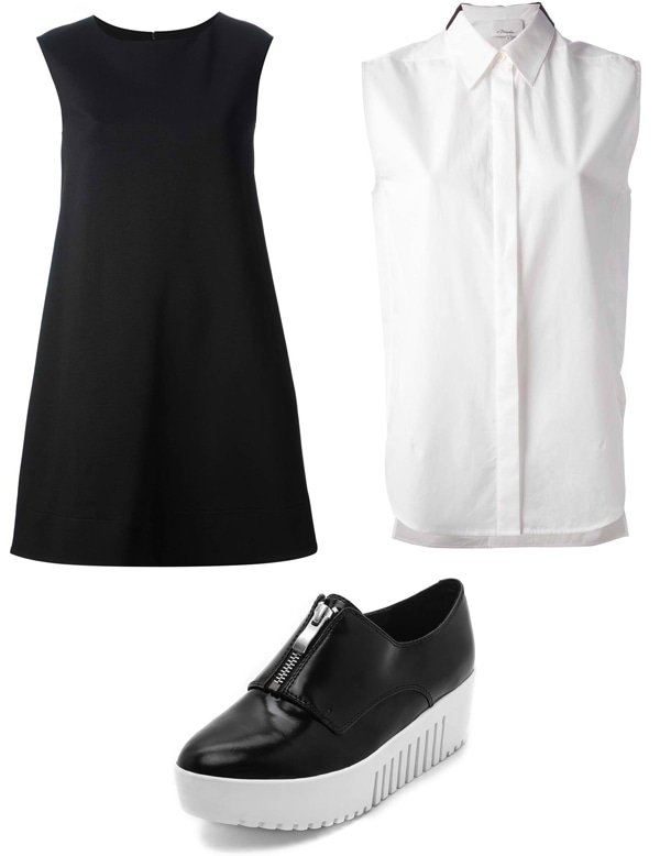 Gianluca Capannolo Flared T-Shirt Dress / 3.1 Phillip Lim Sleeveless Blouse / Opening Ceremony Zip-Front Platform Oxfords