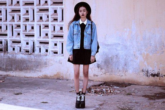 Vu from Bloody Roses wears a classic denim jacket (Blog Offline)