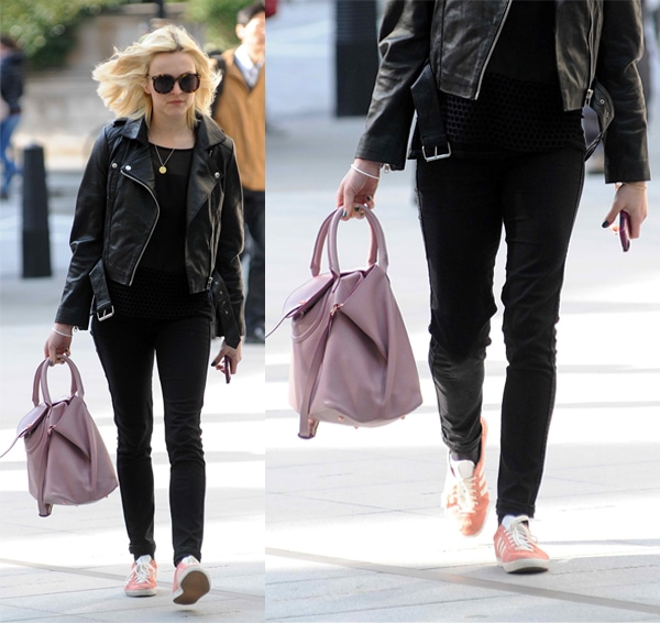 Fearne Cotton wears a black mesh shirt with matching pants
